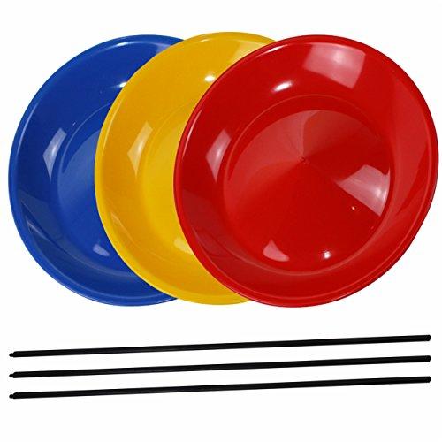 3 Stück Jonglierteller bunt gemischt mit Kunststoffstäben