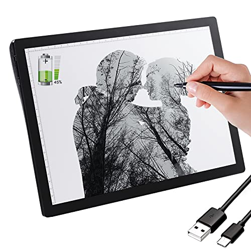 A4 Wireless Tracing Light Box Copy Board, 2500mAh Rechargeable Portable Light Box, 5 Brightness Adjustments USB Charge Ultra-Thin Light Board, for Drawing Diamond Painting Light Pad (Black)