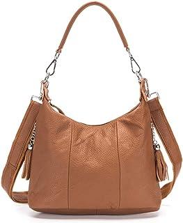 """Women's Shoulder Bag Leather Shoulder Crossbody Bag for Casual Women's Shoulder Bag 8"""" (Color : Orange, Size : L)"""