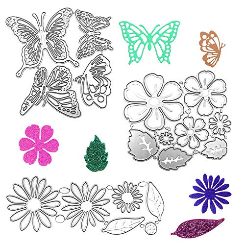 AFUNTA Metal Die Cuts Embossing Stencil Tool, 2 Sets Flower Leaves Shape 14 Styles 3D Die Cuts Stencil & 4 Pcs Butterfly Shape Cutting Dies for Album Decoration, Greeting Card DIY Craft Decoration
