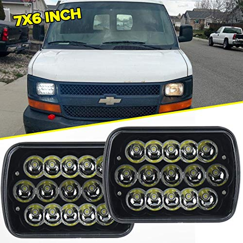 "7"" x 6"" 45W 15-LED replacement Sealed Beam Black Housing Headlight H6052 H6054 H6014"