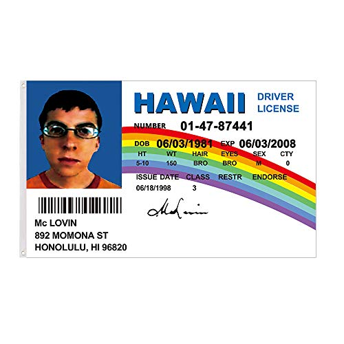 McLovin Flag 3x5Ft Fake Driver License Banner Double Stitched Outdoor Indoor Decoration Banner with Brass Gromments