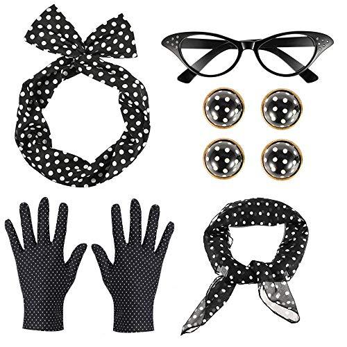 GOLDG 50er Damen Accessoires Set Vintage Zubehör Polka Dot Haarband Schal Ohrringe Ohrclip Brille Handschuhe (6PCS)