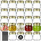 24 Pack 8oz Mason Jars Mcupper Glass Jars With Regular Lids and Bands,Canning Jars For Pickles And Kitchen Storage,Wide Mouth Spice Jars With Gold Lids For Honey,Caviar,Herb,Jelly,Jams