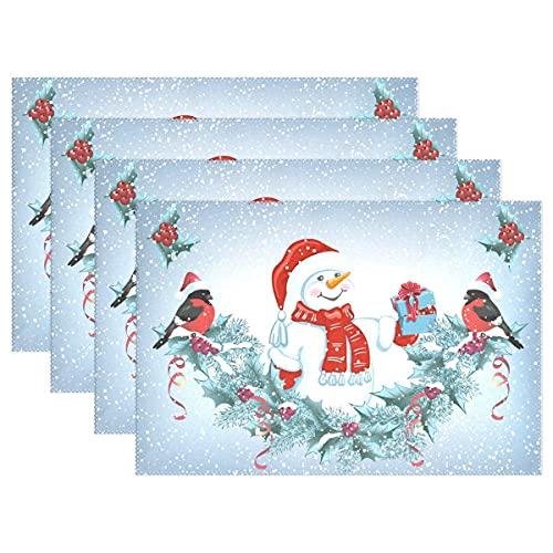 Muñeco de nieve navideño con gorro de Papá Noel Manteles individuales de poliéster de decoración del hogar para mesa de comedor, mesa de cocina, uso diario, almohadilla para comida, tapete para tazas,