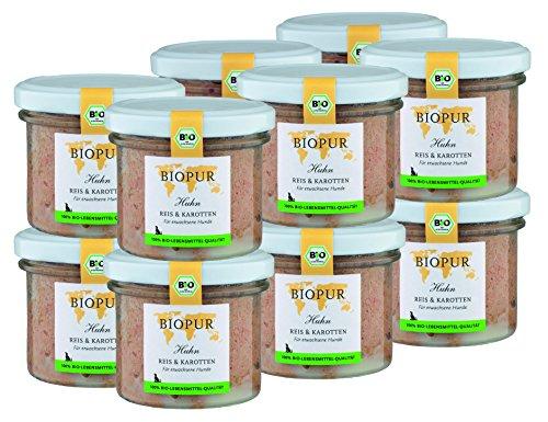 BIOPUR Bio Hundefutter Huhn, Reis & Karotten für Hunde 12x100g