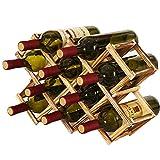 MKSI Portabottiglie da Cucina, Portabottiglie Vino Pieghevole in Legno, Espositore per Vino, Portabottiglie Diamond per Bar, Cantina, Armadietto, Dispensa (10 Bottiglie)
