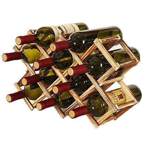 Soporte para Botellero de Madera Plegable,Organizador de Almacenamiento de Vino,Almacenamiento de Botelleros para Exhibición de Vinos, Barra de Bar, Cerveza, Cocina Casera (10 Botellas)