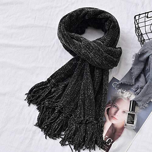 GO&FL Unisex Schal aus Japan und Südkorea, mit Quaste, gefärbt, für Herbst und Winter, warm, dick, Chenille, für weibliche und japanische Studenten, Schwarz