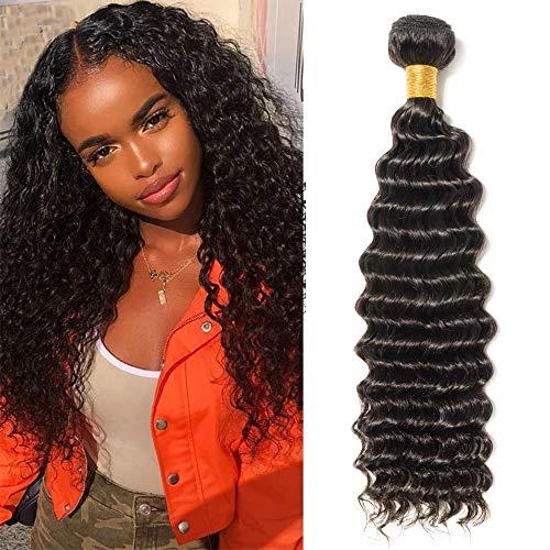 Silk-co Tissage Naturel Cheveux Humain Deep Wave Tissage Bresilien Mèche Brésilienne Vierge Cheveux Brazilian Hair Bundles 12 Pouces/30CM