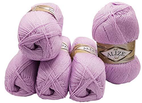 Alize 5 x 100 g Glitzerwolle SAL zum Stricken und Häkeln, 500 Gramm Metallic – Wolle (Flieder 27)
