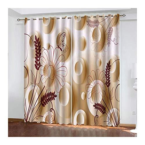 Knbob Polyester Vorhänge Beige Blumen Vorhang Verdunkelung 2er Set Größe 264x115CM