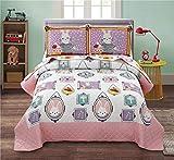 Junsey Girls Quilts Set Rabbit Bedspreads Full/Queen Size,3Pcs Kids Coverlet Set Lightweight Cartoon Bedding Cover Pillow Shams,Pink White