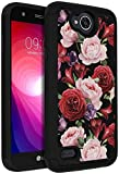 LG Fiesta LTE Case, LG Fiesta 2 Phone Case, LG X Charge Case, ANLI Drop Protection Hybrid Dual Layer Armor Protective Case Cover for Girls and Women Flowers Black