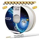 HB-DIGITAL SET 100m Cable coaxial de antena satélite 135db CCS (Acero-Cobre) 5 veces blindado para DVB-S/S2 -C/C2 -T/T2 DAB+ Radio BK Sistemas Blanco + 10x F-Conector & 2x F-Conector chapado en oro