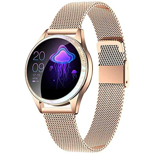 DOOK Smartwatch, Reloj Inteligente Impermeable con Monitor De Frecuencia Cardíaca, Monitor De Sueño, Podómetro De Seguimiento De Actividad Física con Pantalla Táctil para Android iOS Gold