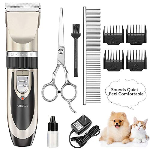 Dog Grooming Clippers Electric Dog Trimmer Shaver Clippers for Thick Coats Rechargeable Low Noise Cordless Puppy Grooming Kit for Large Small Dogs Cats Pet Animals