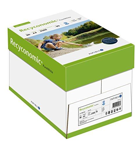 Papyrus 88031825 Recycling-Papier, Druckerpapier Recyconomic PureWhite 80 g/qm DIN-A4, 5x500 Blatt, ungestrichen, matt, weiß