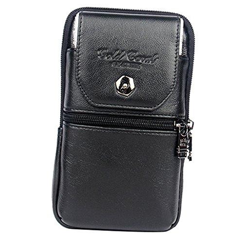 Sharplace Outdoor Handytasche Leder Tasche Für Handy Gürteltasche Smartphone Beutel Handy Hülle Pouch - Schwarz - klein
