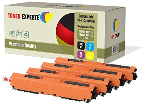 4er Set TONER EXPERTE® Premium Toner kompatibel zu HP 126A CE310A CE311A CE312A CE313A für HP Colour Laserjet CP1025 CP1025nw CP1020 M175a M175nw Pro 100 M175 MFP M175a M175nw M275 TopShot M275