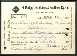 Fort Dodge Des Moines & Southern Railway pass 1950
