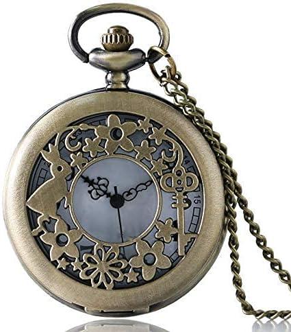 LLGBD Accessories/Flor Antigua Hueco Cuarzo Hermoso Bolsillo Reloj para Chicas para Mujer