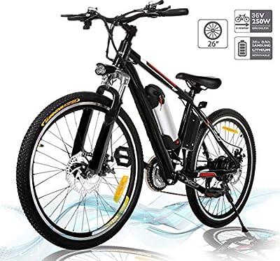 Hiriyt Faltbares E-Bike,36V 250W Elektrofahrräder, 8A Lithium Batterie Mountainbike,26 Zoll Große Kapazität Pedelec mit Lithium-Akku und Ladegerät (Entfaltbar_BlackRed)