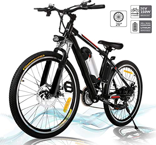 Hiriyt 26'' Electric Mountain Bike with Removable Large Capacity Lithium-Ion Battery (36V 250W), Electric Bike 21 Speed Gear and Three Working Modes (Unfoldable)
