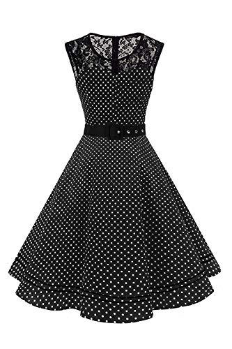AXOE Femme Robe Retro Vintage Pin-up Chic Vêtements Année 50 Noir et Blanche à Pois Grande Taille 46, 3XL