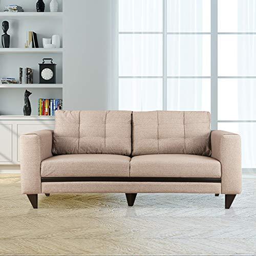 HomeTown Garcia Fabric Three Seater Sofa in Brown Colour