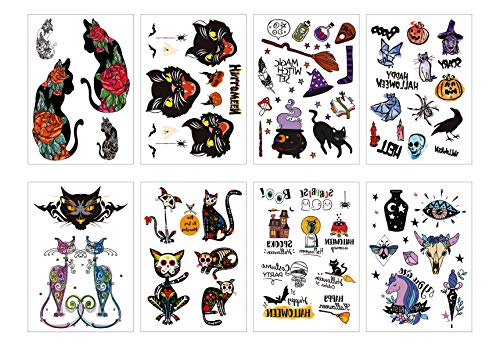 GGSELL Small Temporary Tattoos Stickers for Kids 8 Sheets Cartoon Animal Decals Fake Waterproof Cat Dog Stickers Face Body Art Tattoos for Girls Personal
