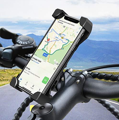Soporte universal para teléfono móvil de bicicleta o scooter, para manillar de moto, giratorio 360°, para smartphone de 3,5 a 6,5 pulgadas