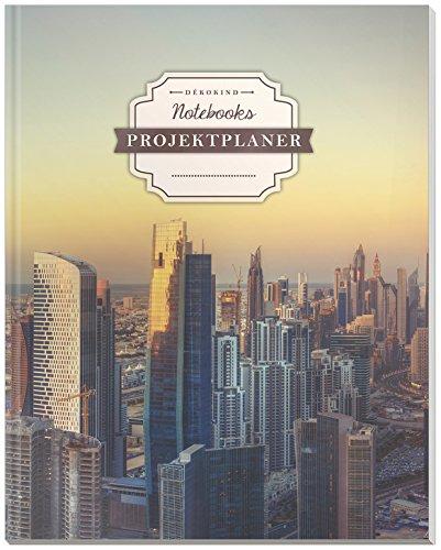DÉKOKIND Projektplaner | DIN A4, 100+ Seiten, Register, Kontakte, Vintage Softcover | Für über 50 Projekte geeignet| Motiv: Metropole