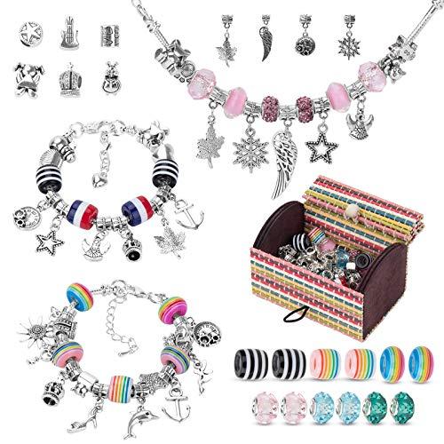 HONEYWHALE Charm Armband Kit DIY, Schmuck Bastelset Mädchen mit Perlen und Anhängern, Geburtstagsgeschenke, Geschenke für Mädchen 7-12 Jahre alt