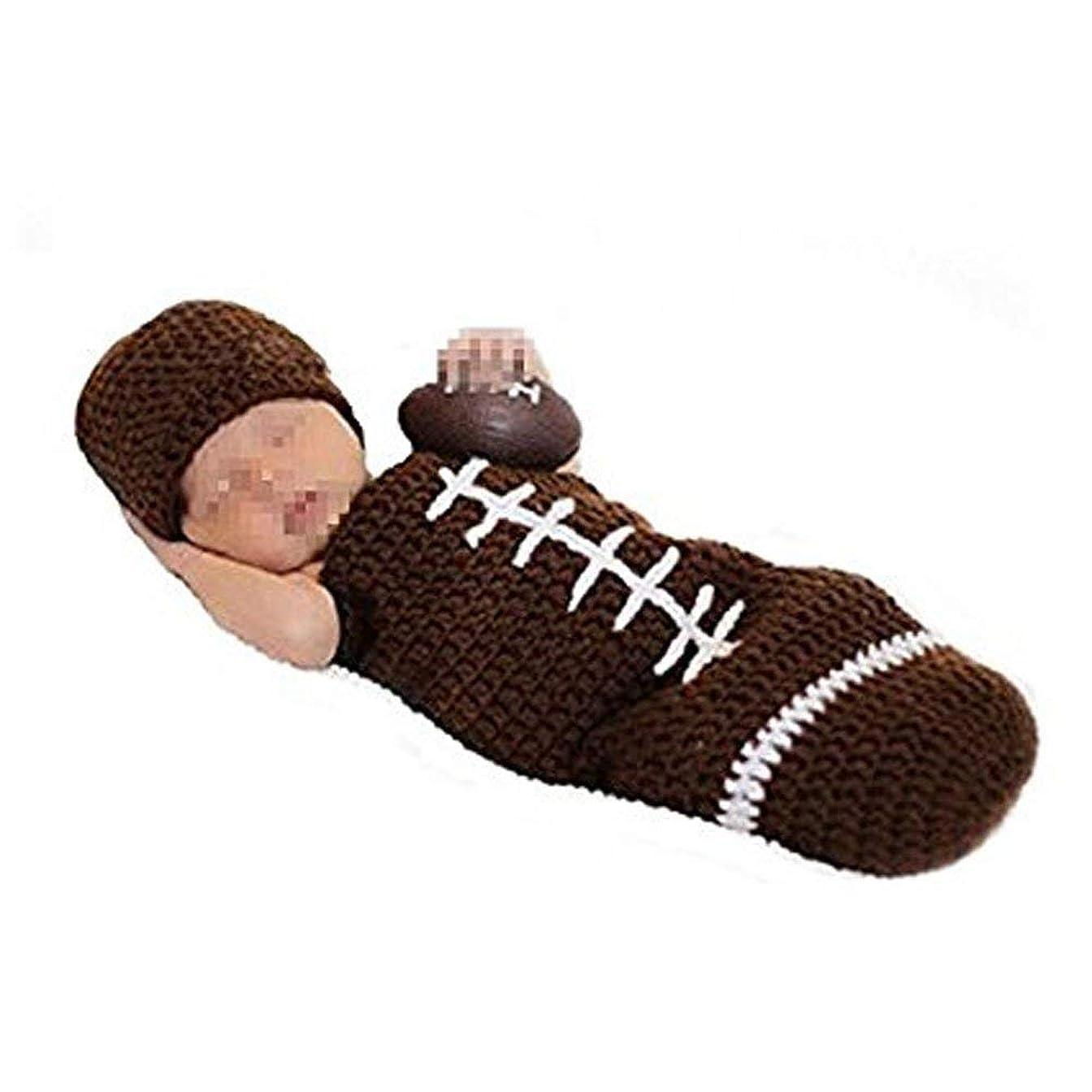 防衛スケッチセンターTOOGOO 新生児写真の小道具衣装 - 男の子/女の子ニット帽子パンツ漫画動物衣装セットサッカー