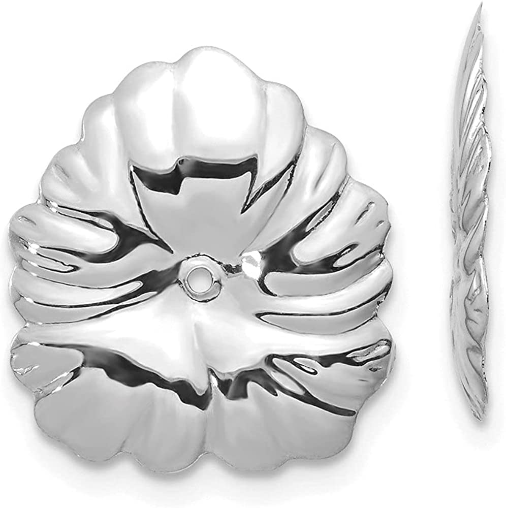 14k White Gold Floral Earring Jackets (L-15 mm, W-14 mm)
