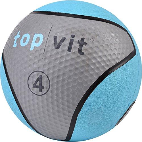 top | vit Medizinball - Fitnessball mit Gummioberfläche | Medizinbälle in Studio Qualität | 4kg, hellblau
