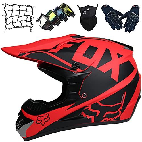 Cascos Motocross Niños, Casco Moto Todoterreno Adultos, Conjunto Casco Moto Integral Niños & Niñas (5 piezas), Casco Protección para Descenso Enduro Quad MTB - con Diseño Fox - Negro