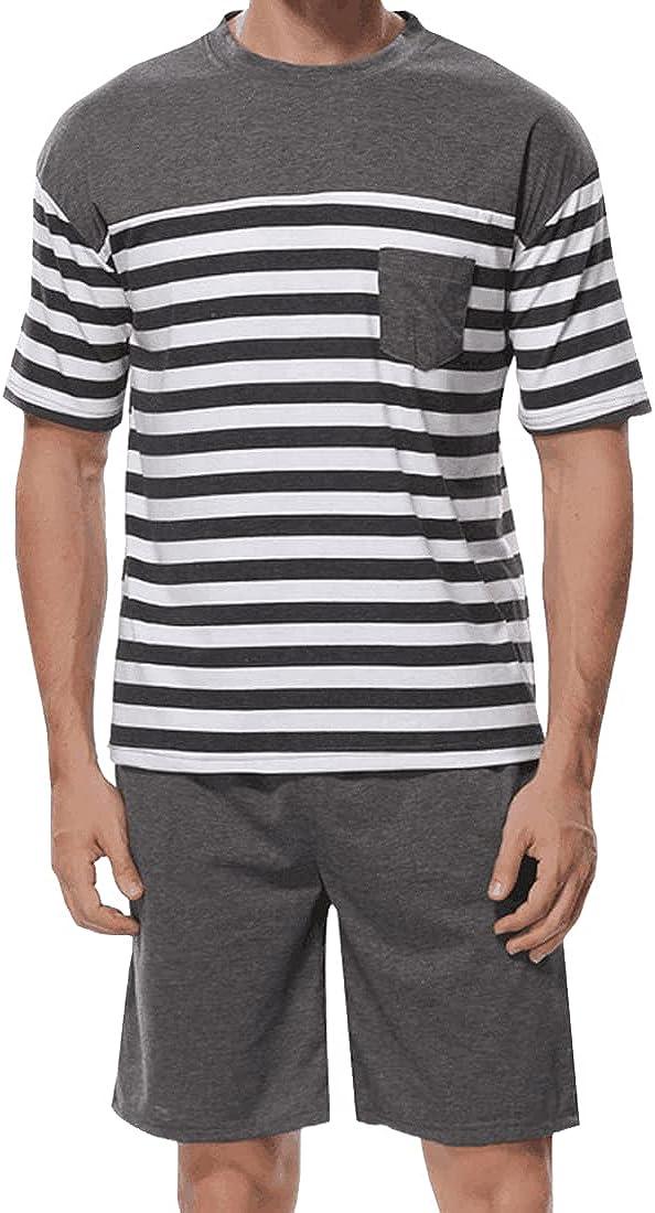 Summer Mens Striped Pajama Set Short Sleeve Shirt Shorts Sets Sleepwear Pjs Set Lightweight S-XXL