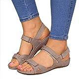 MIAOXIAO Mujer Sandalias Punta Abierta Cuero Cómodo Sandalias de Caminar Antideslizantes Cierre de Velcro, Sandalias Planas, Plataforma Abierta, Zapatos de Playa,3,36