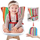 Baby Portable Travel High Chair, Adjustable Safety Washable Toddler High Chair Seat Cover Convenient Cloth Travel High Chair Fits in Your Handbag (Rainbow)