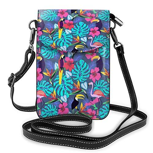 Tropische Pflanzen und Blumen mit Tukan-Papagei, kleine Umhängetasche, Crossbody-Tasche für Handy, PU-Leder, Handtasche mit verstellbarem Riemen für den Alltag