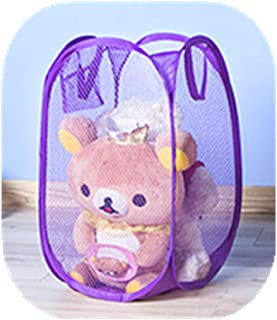 Portable Small Mesh Laundry Hamper Foldable Nursery Storage Basket for Baby Clothes Kids Toy Pop Up Camper Hampers Purple