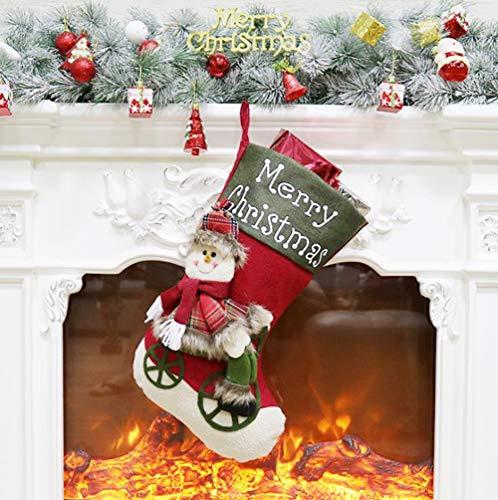 TX Christmas Stocking 2 Packs Set, Xmas Stockings Ornaments Pendant Candy Bag Santa Claus Ring Deer Faux Fur Cuff,B