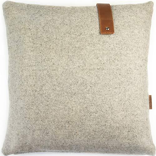 Miqio® Design kudde av filt med äkta läder (soffkudde Stockholm) 40 x 60 cm