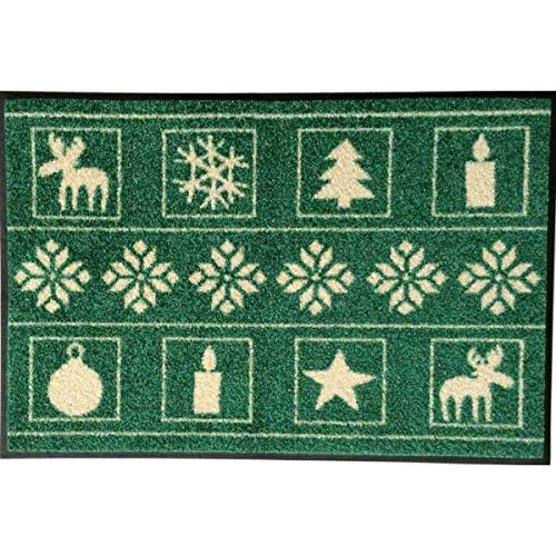wash+dry Waschbare Fußmatte - Weihnachten grün 50x75 cm - Fußabstreifer mit Weihnachtsmotiv - Türmatte