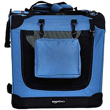 AmazonBasics Panier de transport souple et pliant pour animal de compagnie - 66cm, Bleu