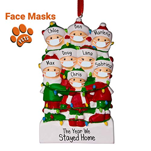 Tangled Lights Family with Face Masks - 8 - Large Families - Coronavirus Christmas Ornament - Pandemic - Isolating Together - Free Personalization - Perfect Handwriting