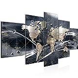 Quadro Mappa del mondo 200 x 100 cm - XXL Immagini Murale Stampa su Tela Decorazione da Parete Pronte per l'applicazione 5 pezzi - 106851c