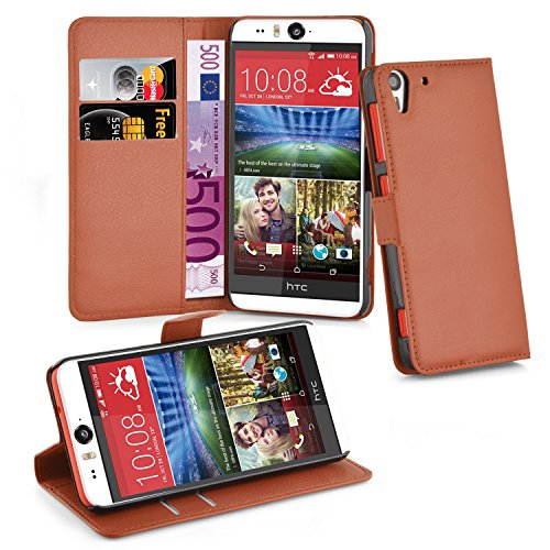 Cadorabo Hülle für HTC Desire Eye - Hülle in Schoko BRAUN – Handyhülle mit Kartenfach & Standfunktion - Case Cover Schutzhülle Etui Tasche Book Klapp Style